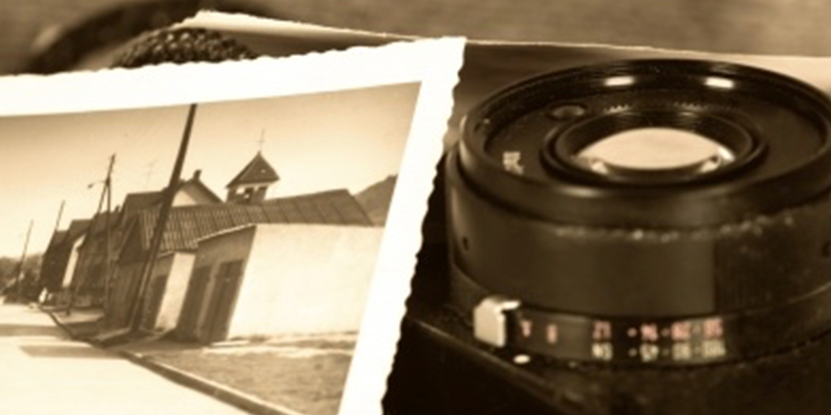 a photo of a camera with an old photo