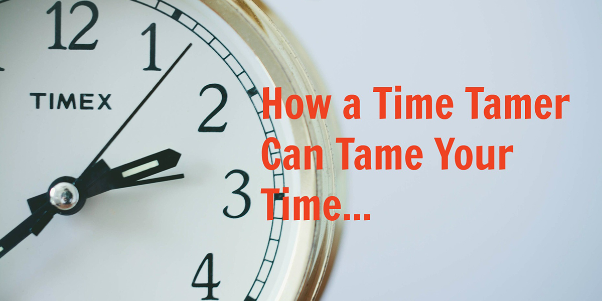 a clock face with text that reads how a time tamer can tame your time
