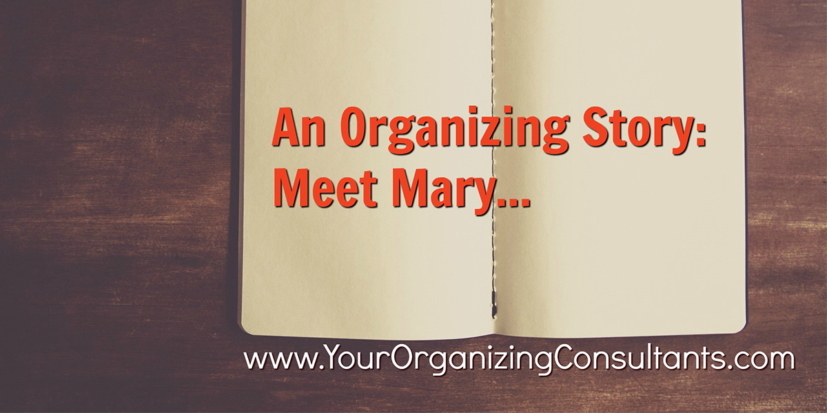 an open book with text that reads, an organizing story: meet mary...