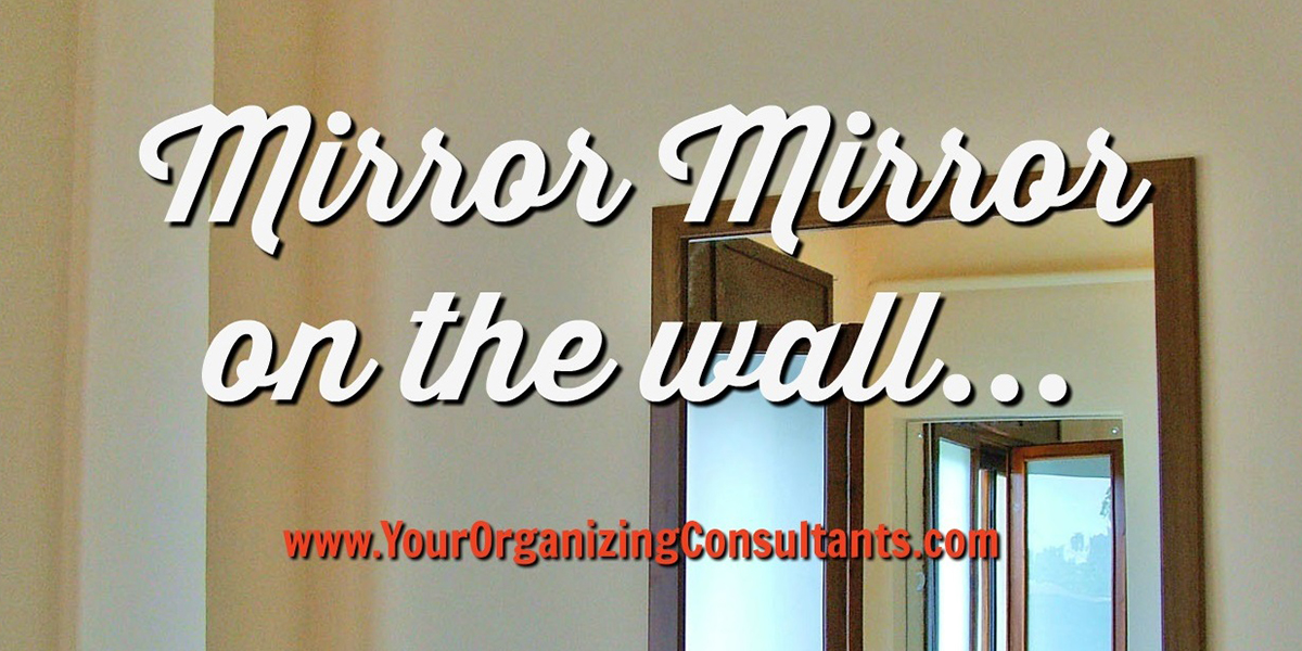 a mirror on the wall reflecting into another mirror with text that reads, mirror mirror on the wall...