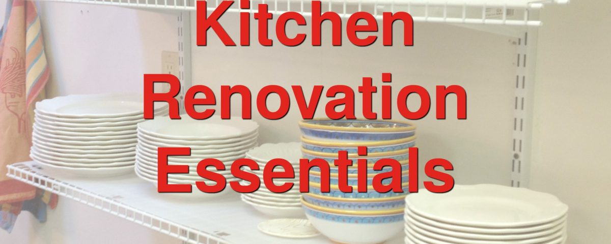 temporary kitchen shelves with dishes