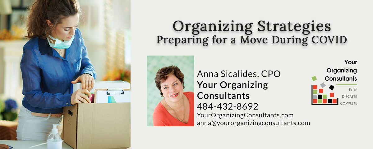 A photo of someone organizing a move with a headline of organizing strategies when preparing for a move