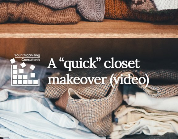 "image of a closet shelf with the blog title a ""quick"" closet makeover"