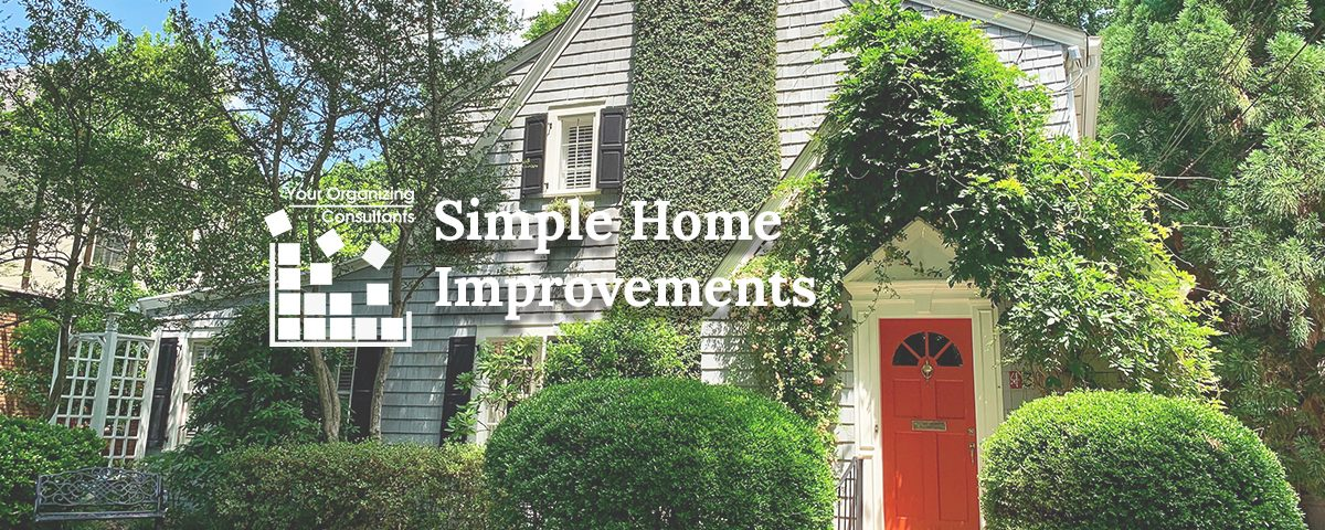 "Image of a manicured home with text ""Simple Home Improvements"" article by RedFin"